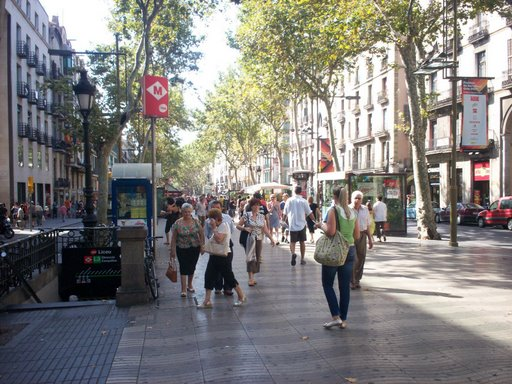 ramblas street in old district